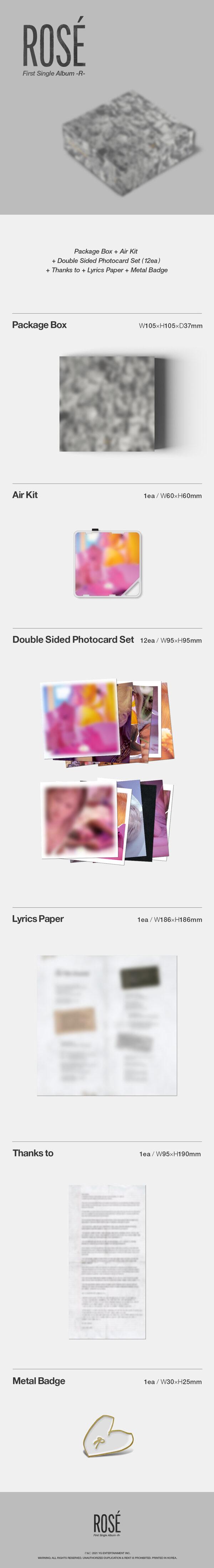 1st Single de Rose BLACKPINK R Kit Album Photocard 1