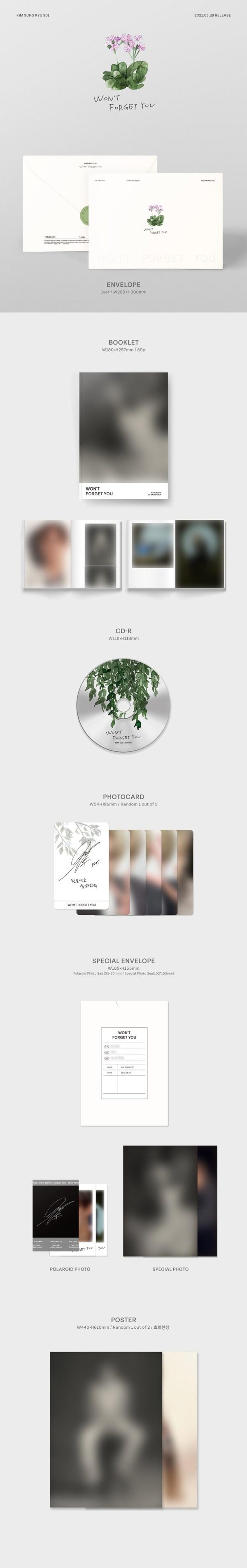KIM SUNG KYU Single Wont Forget You Poster