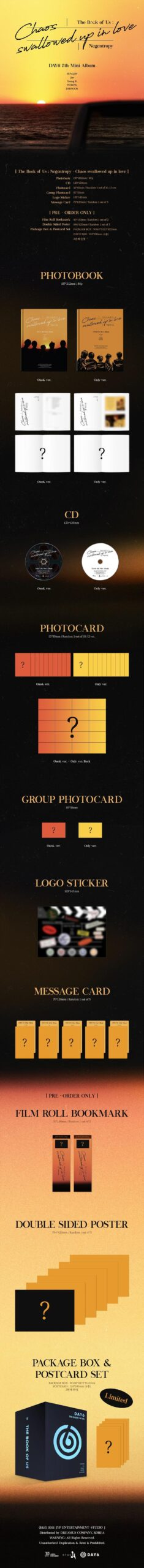 DAY6 7th Mini The Book of Us Negentropy Chaos swallowed up in love Random Ver. Poster