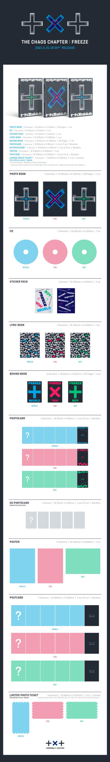 TXT Album THE CHAOS CHAPTER FREEZE Random Ver. Poster on pack 1 1