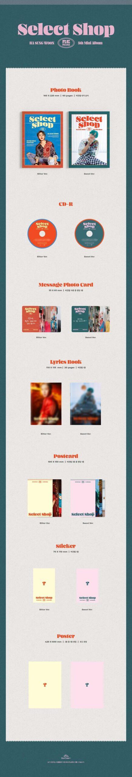 5th Mini Album Repackage de Ha Sung Woon Select Shop Bitter ver. o Sweet Ver Disponibles