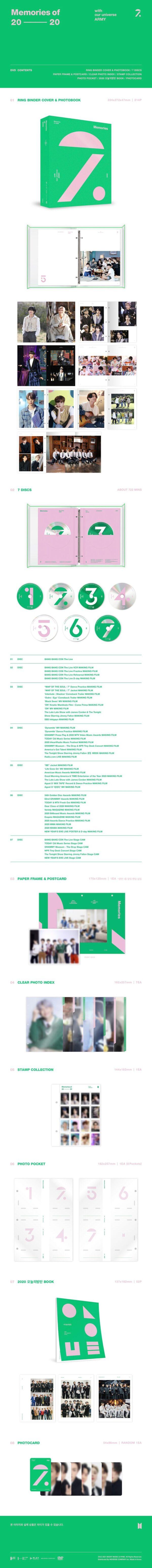 DVD BTS Memories Of 2020 7 DISCOS