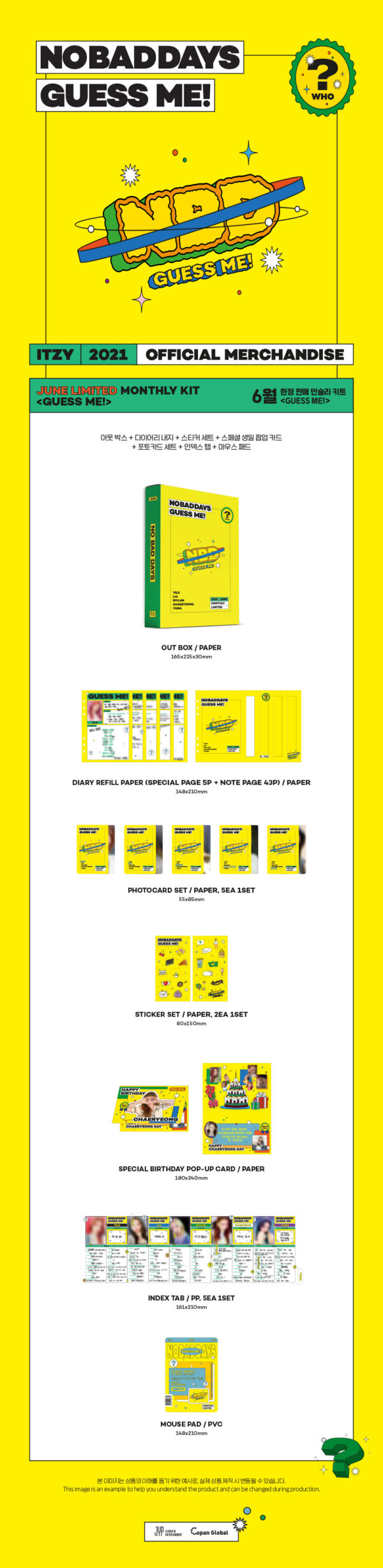 ITZY NO BAD DAYS JUNE LIMITED MONTHLY KIT GUESS ME