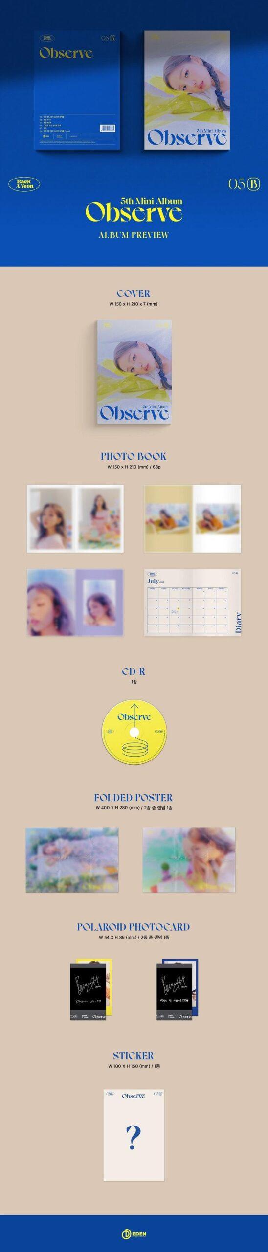 5th Mini Album de Baek A Yeon Observe