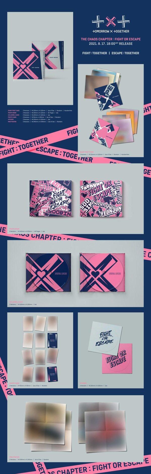 Album de TXT Chaos Chapter FIGHT OR ESCAPE Random Ver. 1