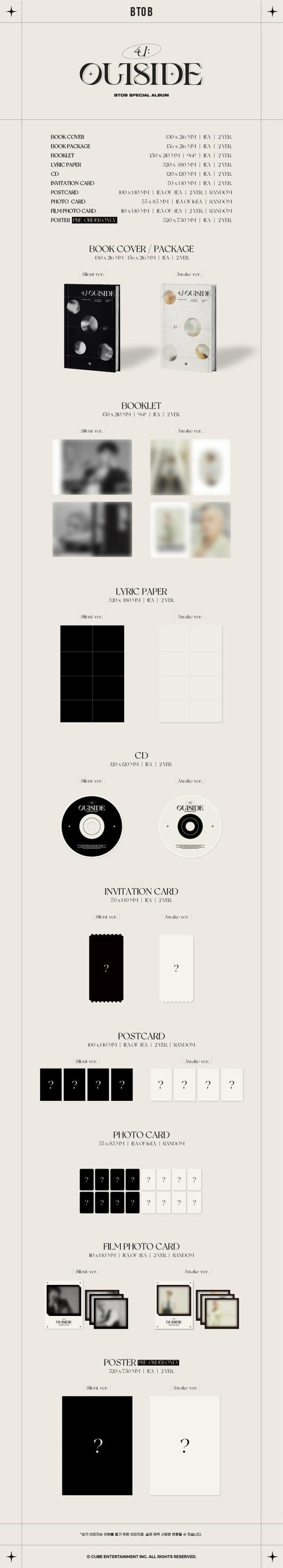 Special Album de BTOB 4U OUTSIDE Silent ver. o Awake ver. Disponibles 1