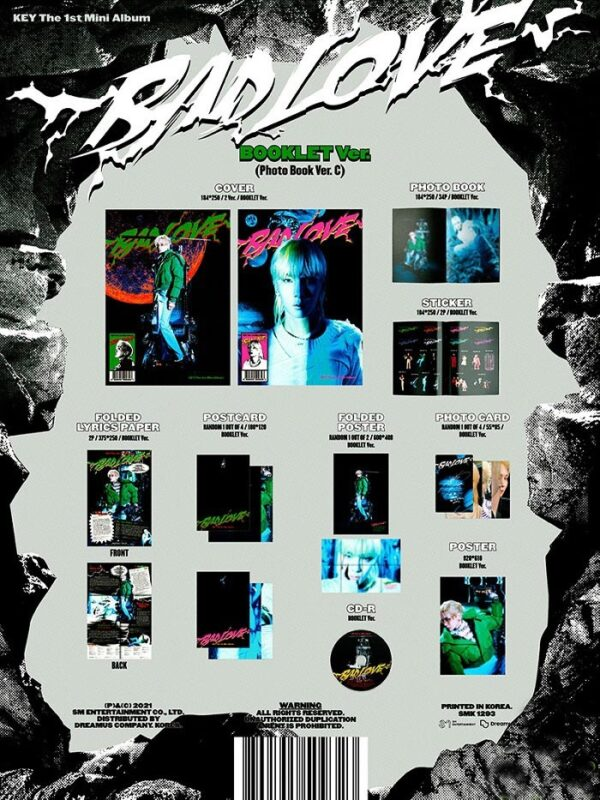 1st Mini Album de KEY SHINee BAD LOVE BOOKLET Ver. 1.1