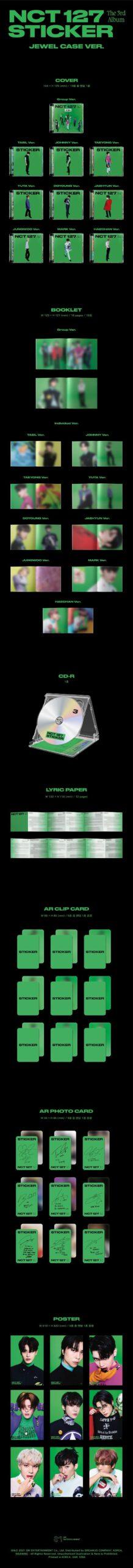3rd Album de NCT127 Sticker Jewel Case Ver. Random Ver. 1