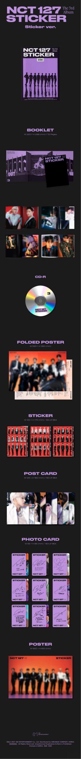 3rd Album de NCT127 Sticker Sticker Ver. 1.1