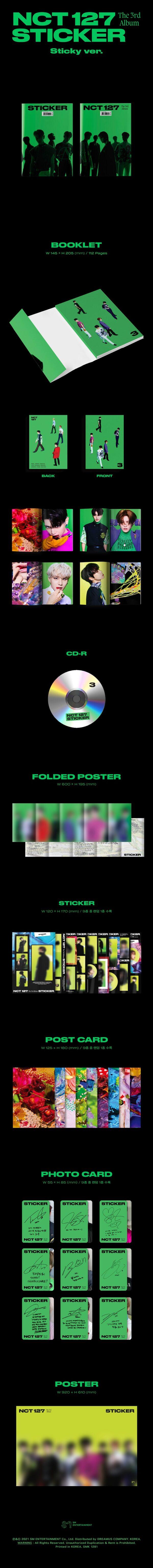 3rd Album de NCT127 Sticker Sticky Ver. Random Ver.